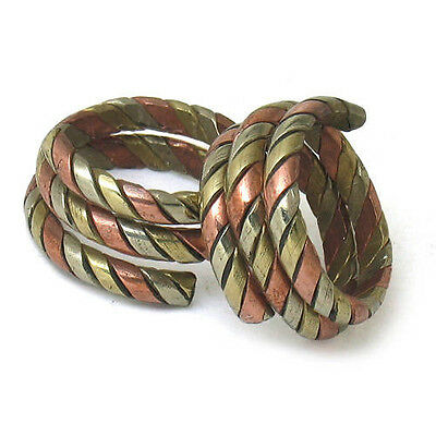 Two Large Adjustable Tibetan 3-color Copper Coil Style Amulet Ring Rings
