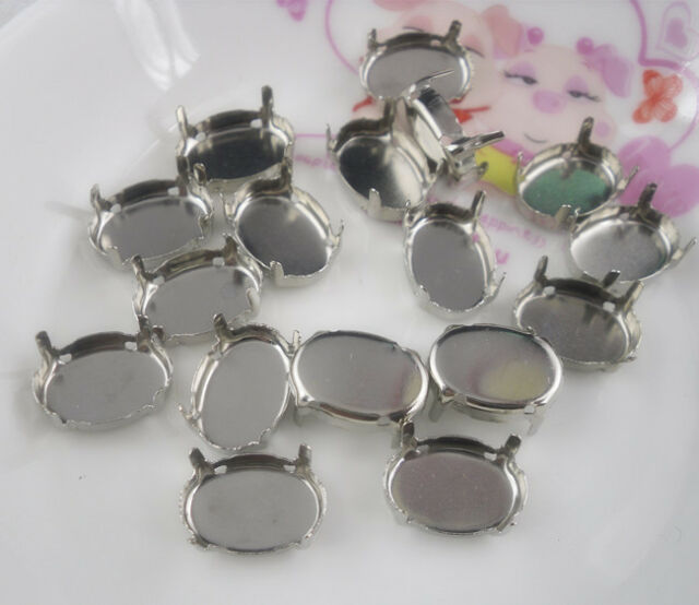 Jewels's silver gray empty claw Settings For 10X14mm Oval glass rhinestones Sew