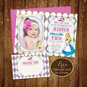 "Alice in wonderland Birthday Photo Invitation - Digital Printable file - 5x7"""