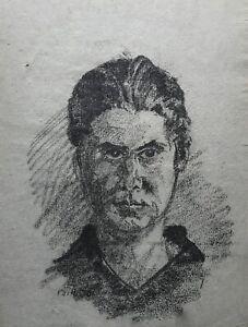 Disegno Ritratto Giovane Uomo Testa Disegno Carboncino Datato