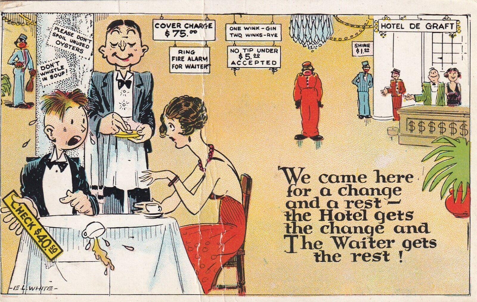 COMIC, PU-1939; Shocked over dinner bill, Hotel de Graft, Black Face