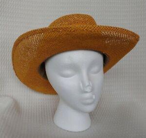 Vintage yellow woven dress hat