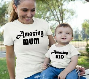 72167386d3cf Amazing Mum Kid Mother Daughter Son Family Matching T Shirt Slogan ...