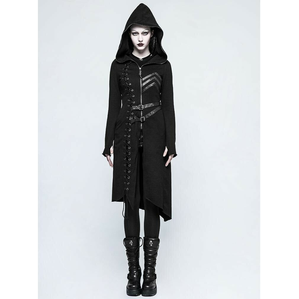 Punk Rave Gothic militär- Steampunk kvinnor Coat -invånare i Lacing Faux läder
