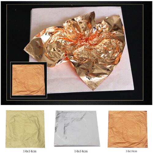 100Stk 14cm Schlagmetall Blattmetall Gold//Silber//Kupfer vergolden Blattgold Neu