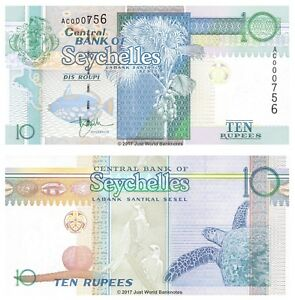 Seychelles-1998-2010-10-RUPIE-P-36-basso-i-numeri-di-serie-AC-0007XX-BANCONOTE-UNC