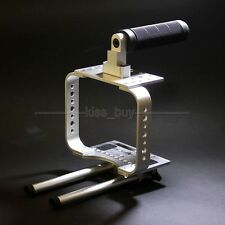 Handle Camera Cage Rig For BMCC BLackmagic Cinema Kamera C300 C500 5D3 Silver