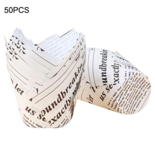 50 stücke diy tulpen cupcake liner papier kuchen backen tasse muffin fällen