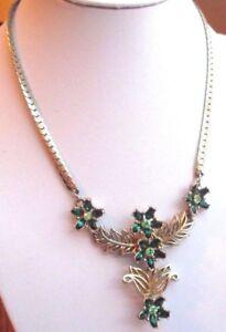 Superbe-collier-ancien-couleur-or-cristal-navette-emeraude-bijou-vintage-2357