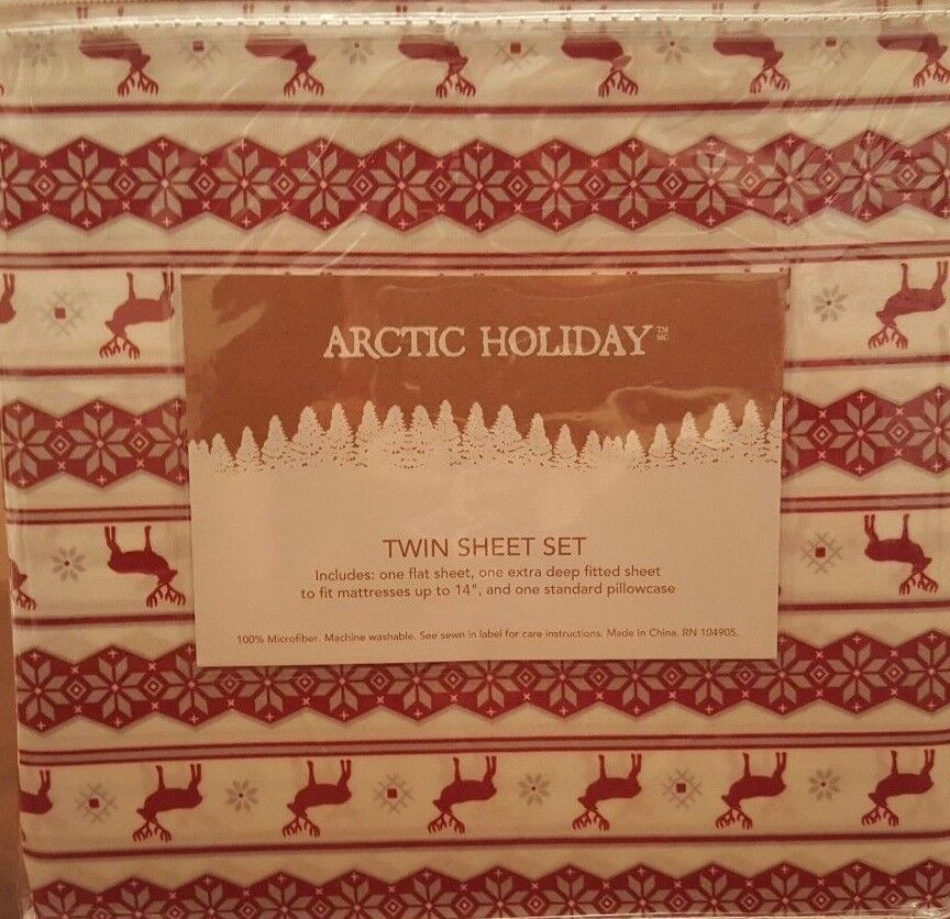 Reindeer Snowflake Christmas 3PC TWIN Sheet Set - rot & Weiß -by Arctic Holiday