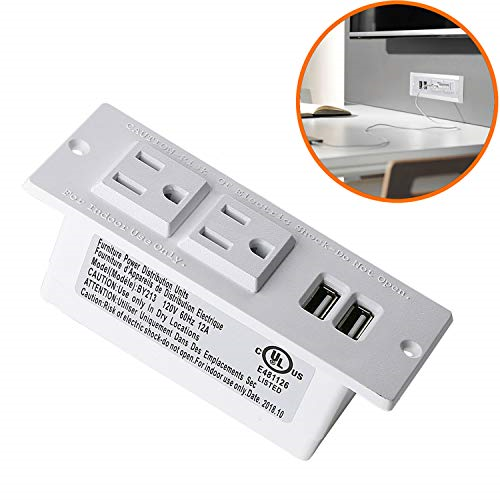 Recessed Power Strip Grommet Socket w Surge Protector 2 AC Outlets /& 2 USB Ports