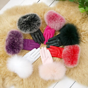 Womens-Real-Sheepskin-Leather-Real-Fox-Fur-Trims-Driving-Thermal-Gloves-Warm-AA
