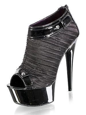 Ellie Women's Kinky Select Sandal Shoes in Shiny Black 6 Inch High Heels