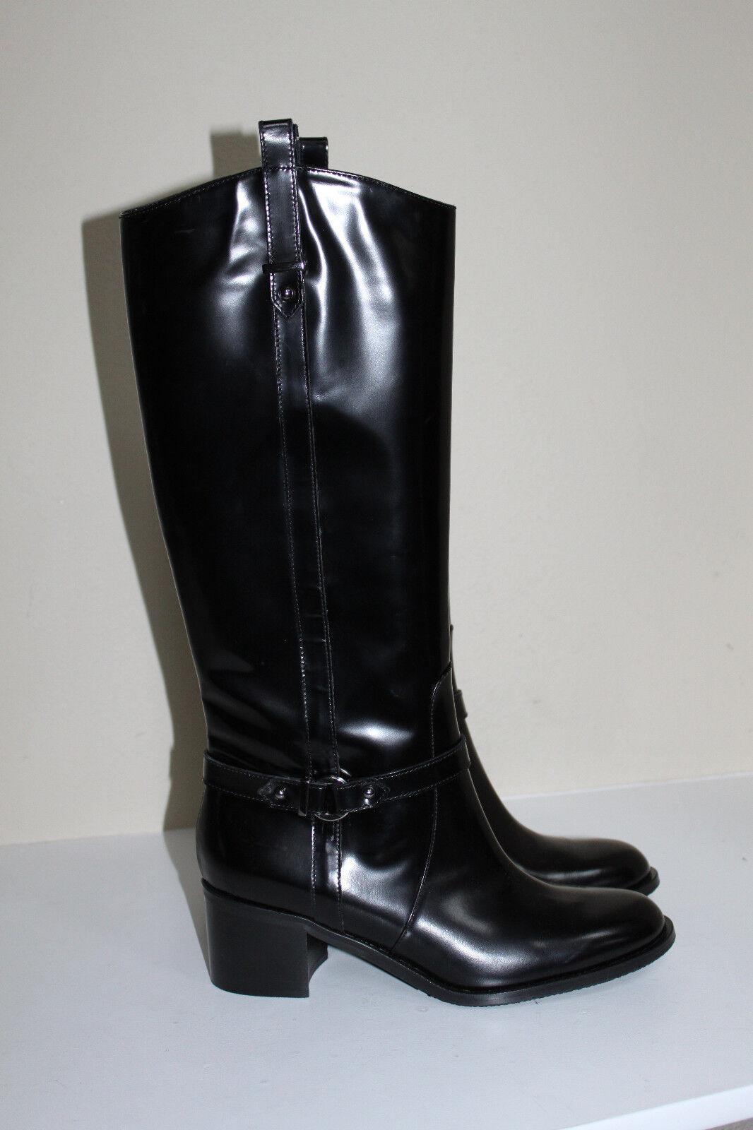 New sz 8.5 38.5 Aquatalia by Marvin K Opulence Black Leather Tall Boot Heel Shoe