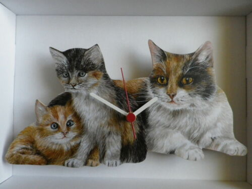 New /& Boxed Mother Cat and Her Kittens Wall Clock
