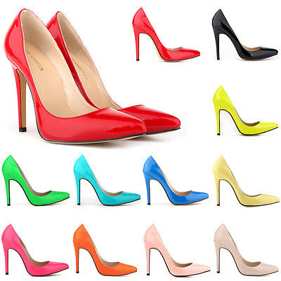 Ladies Patent High Heels Pointed Corset Style Work Pumps Court Shoes Size UK 2-9
