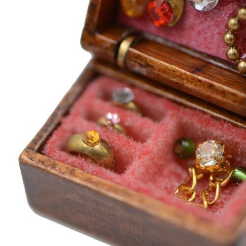 1:12 Dollhouse Miniature Wooden Jewelry Box Bedroom Accessories Mini Decor VGCAP