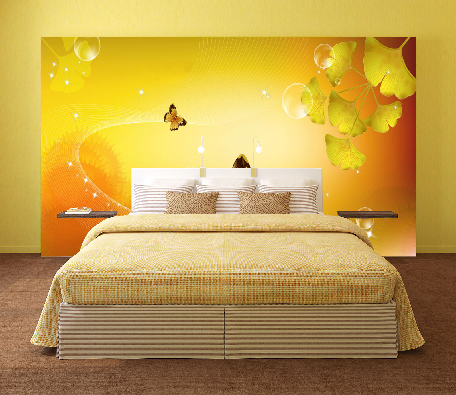 3D Leaves, butterfly 65 Wall Paper Wall Print Decal Wall Deco Indoor Wall Murals
