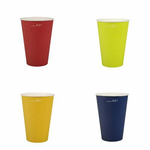 20 x Einweg Pappbecher farbig 0,2l Kindergeburtstag Party Trinkbecher Papstar