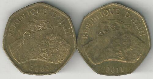 2 DIFFERENT 1 GOURDE COINS from HAITI DATING 2003 /& 2011