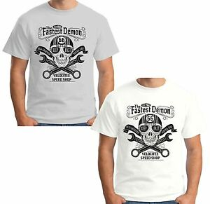 Velocitee Mens Premium T-Shirt Custom Motorcycle Cafe Racer Biker A17786
