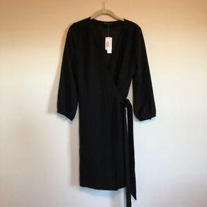 Details About Nwt J Crew Black Wrap Dress In 365 Crepe Sz 6