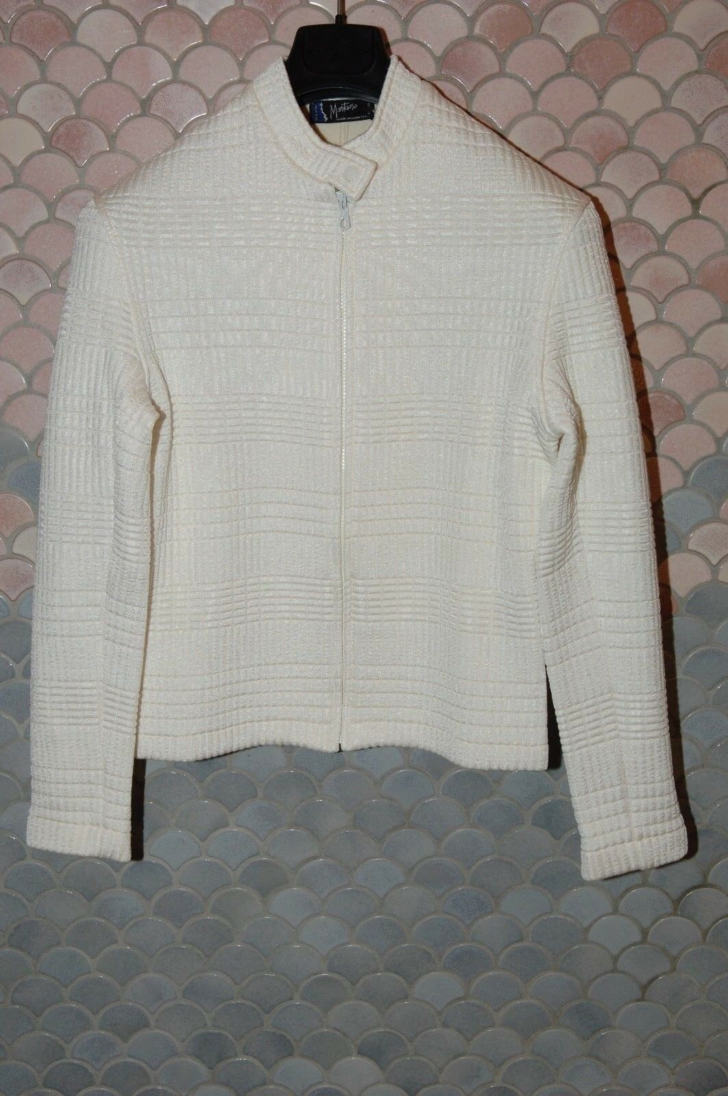 Claude Montana Weiß Cardigan Sweater, Unisex, M, EU 48(50) , Weiß, Nylon/Wool
