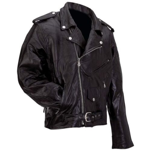 New Mens Black Genuine Buffalo Leather MOTORCYCLE JACKET Coat Biker ZipOut Liner