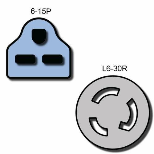 Iron Box # IBX-1402 15A//250V 14 AWG NEMA 6-15P to L6-30R Plug Adapter