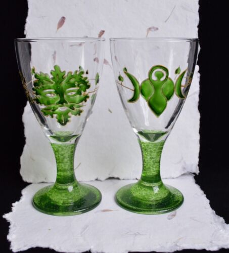 God /& Goddess Chalices Wicca Pagan Altar Ivy /& Oak Leaf Handfasting Gift