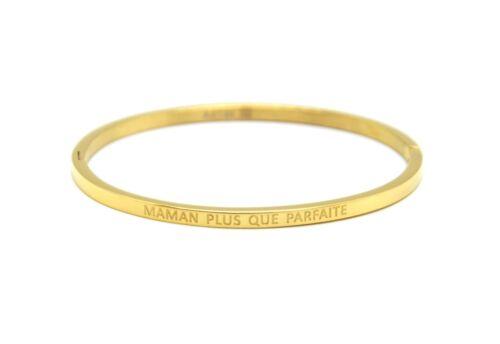 Bracelet Jonc Fin Acier Doré avec Message Maman Plus Que Parfaite BC2843F