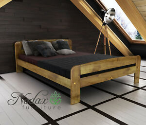 Image Is Loading New Wooden Solid Pine Double Bed Frame Amp
