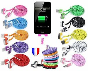 CABLE-CHARGEUR-USB-pour-iPhone-4-4S-3G-3GS-iPad-iPod-Couleur-Plat-Renforce-NYLON