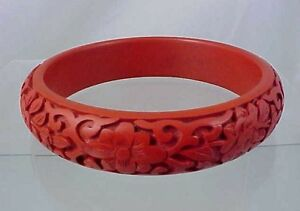 Image Is Loading Vintage Older Carved Cinnabar Bangle Bracelet