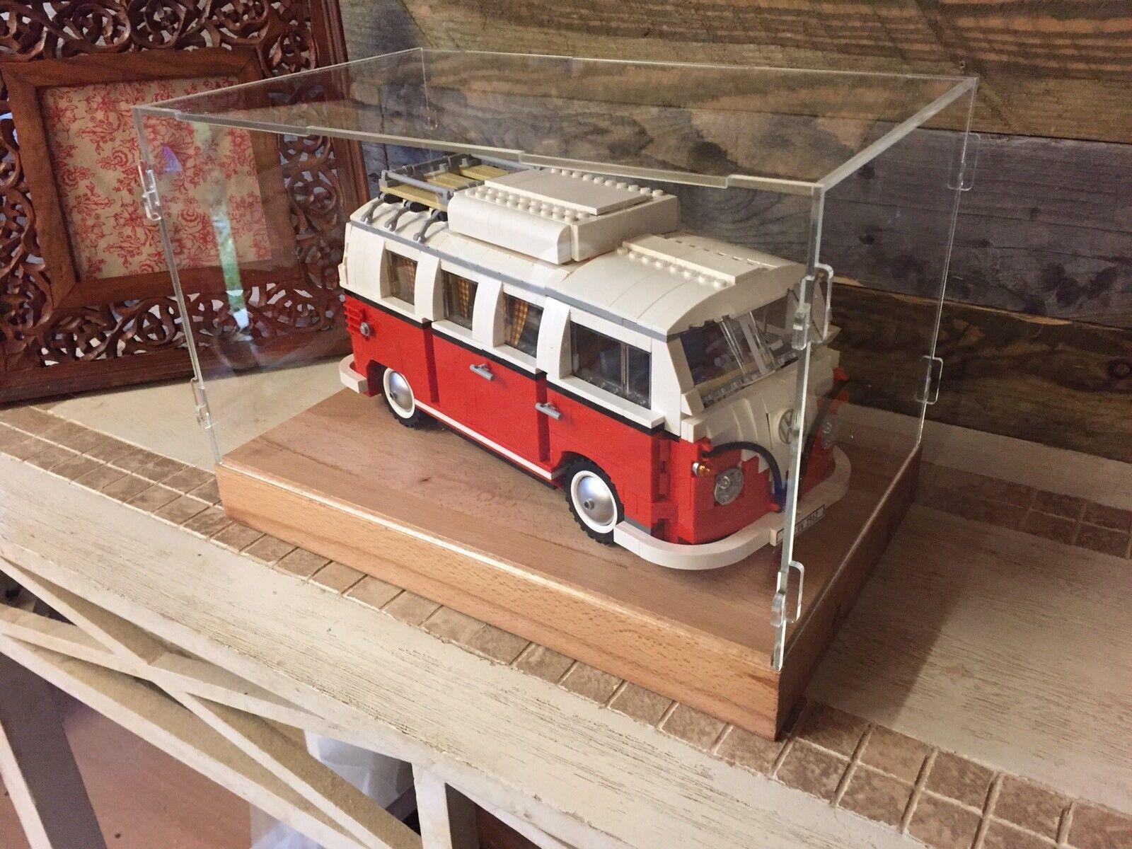 Deluxe Hardwood & Clear Acrylic Display Case for LEGO VW Camper van