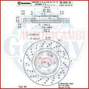 W176 BREMBO 09.B807.51 2X COPPIA DISCHI FRENO per MERCEDES-BENZ CLASSE A