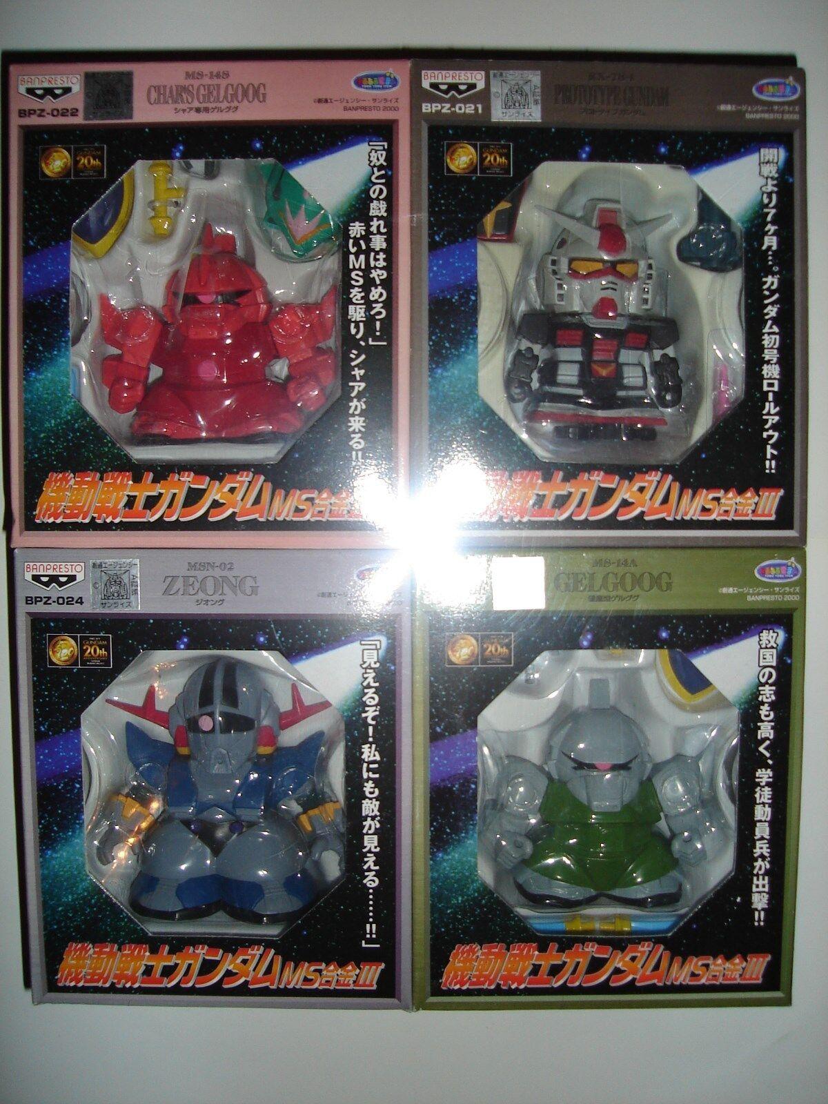 MS Gokin III diecast SD Gundam 4 figure set - Predotype, Char's Gelgoog, Zeong