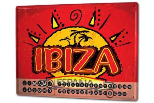 Dauer Wand Kalender Abenteurer  Ibiza Spanien Metall Magnet