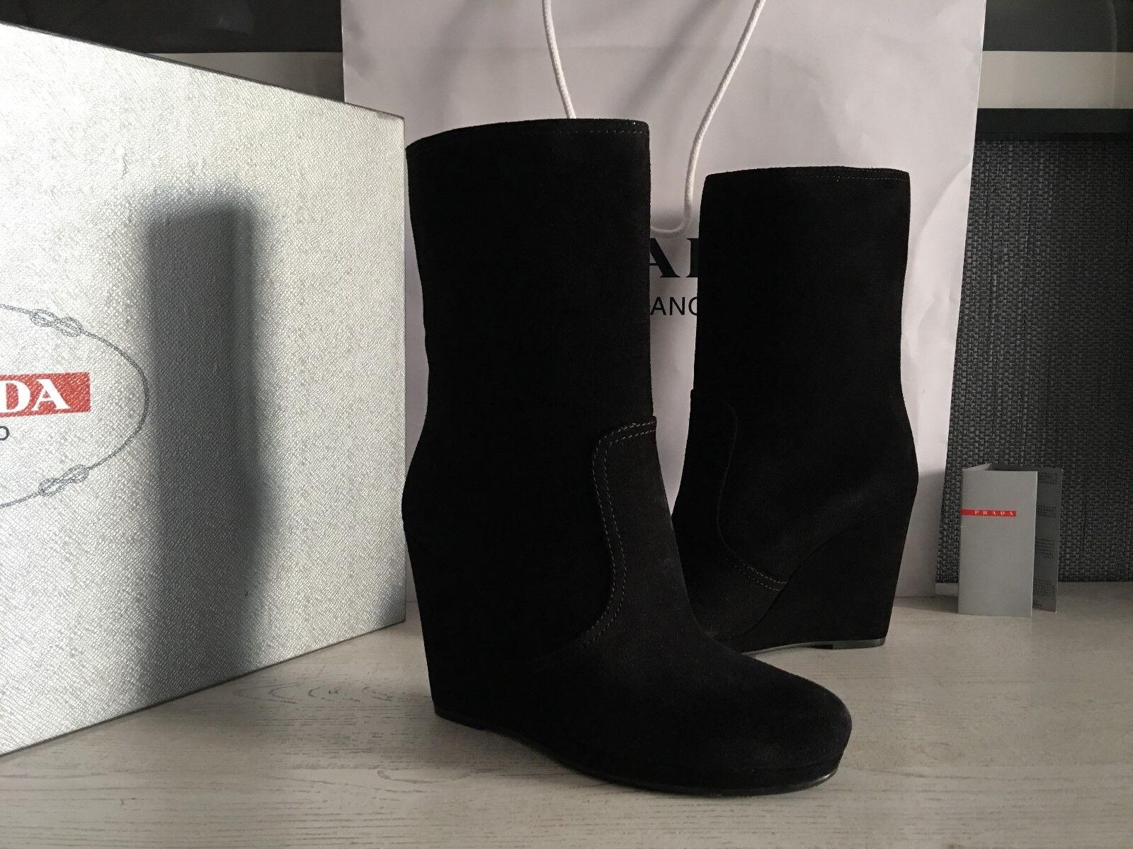 Prada Para Mujer Mujer Mujer botas De Cuero Real Talla  US 10,5 (EU 40,5) NUEVO  diseño único
