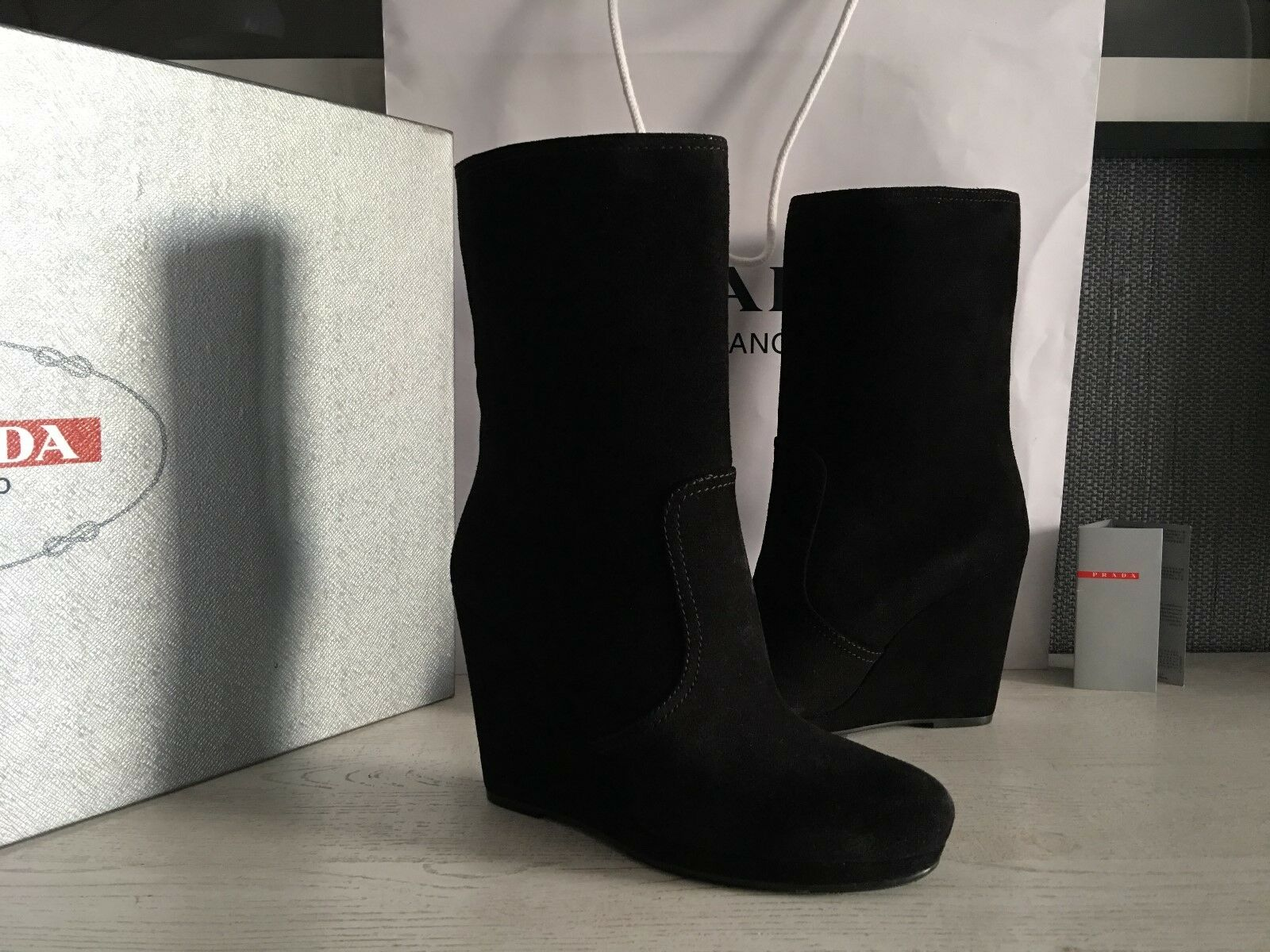 PRADA Women's Real Leather Boots  Sz   US 10,5 ( EU 40,5 )  NEW