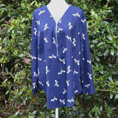 Top Tunique Ample Femme 50 52 Bleu Motif Oiseau Grue Cendrée Zaza2cats