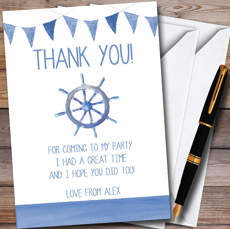 Blau Bunting Nautical Beach Personalised Party Thank You Cards
