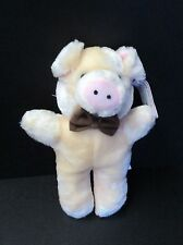"""Soft Things Plush Baby Pig Pastel with Brown Bow 10"""""""