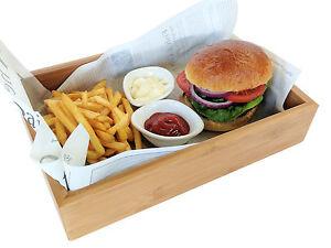 Small Wooden Food Tray Pub Presentation Burger Box Wood Service
