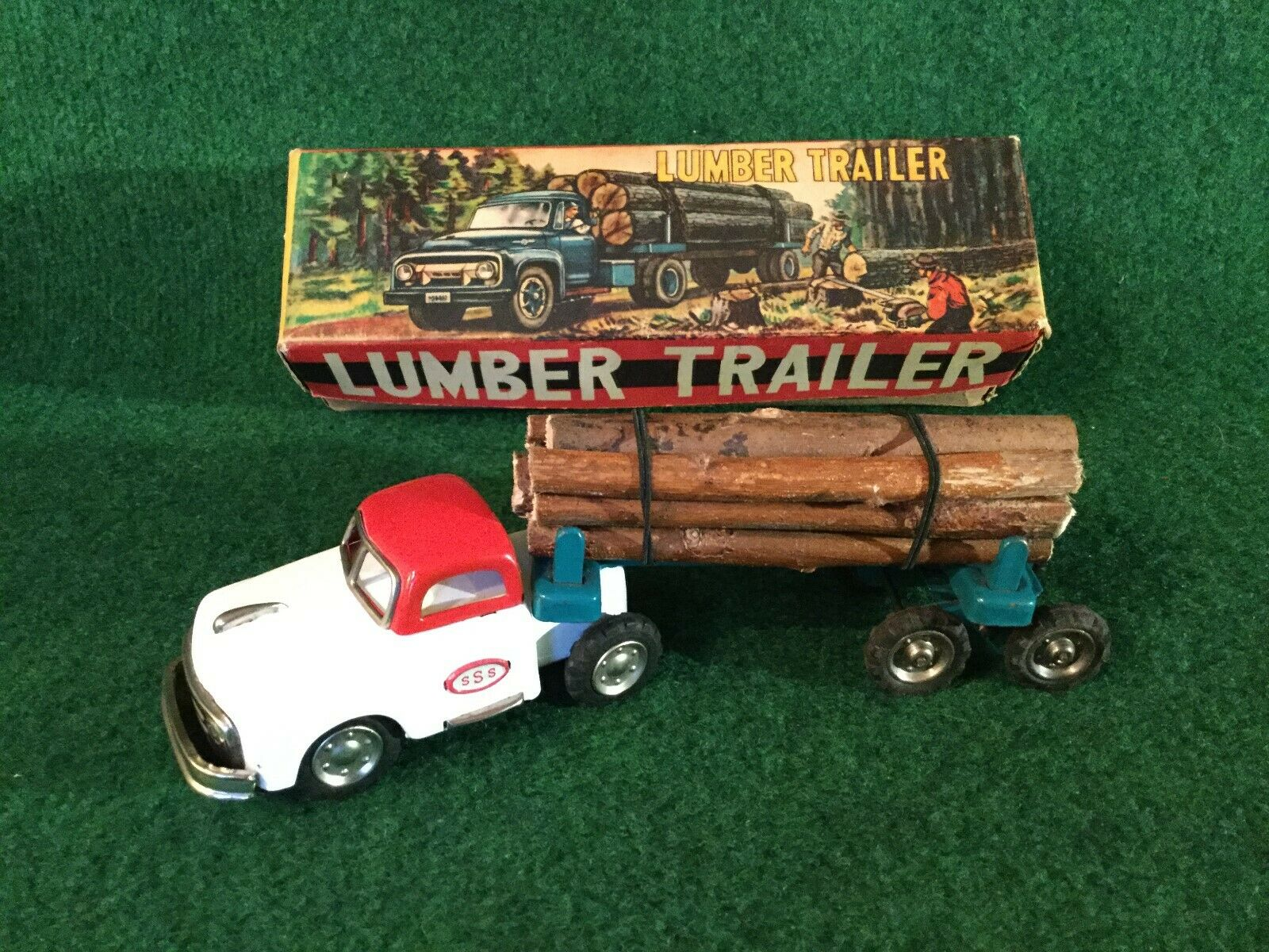SSS Japan Friction Lumber Trailer Tin Toy Vintage Boxed