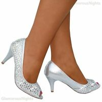 Ladies Silver Sparkly Gems Peep To Court Shoe Evening Party Size 3 - 8