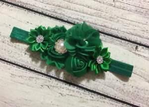 Vintage Green St Patrick's Day Baby/Toddler/G<wbr/>irl Headband,Chris<wbr/>tmas Headband