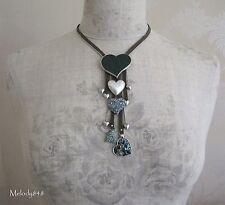 Vintage    PILGRIM Necklace Silver/Khaki/Green/Blue Swarovski HEART-2-HEART BNWT