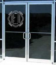 Custom Business Store Hours Sign Vinyl Decal Sticker 14x14.5  Window Door Glass