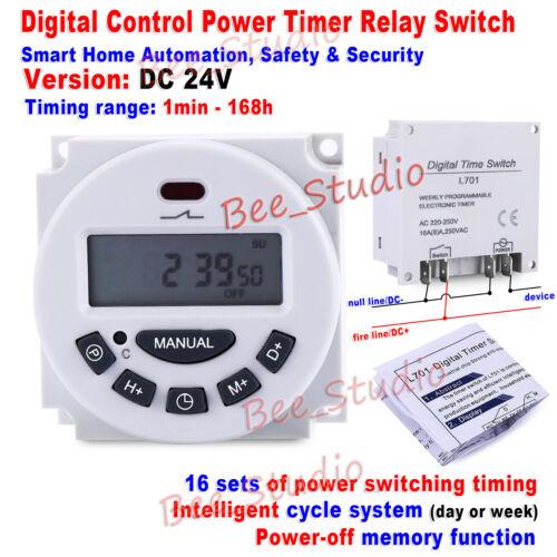 DC 12V 24V AC110V 220V 230V LCD Programmable Cycle Clock Timer Time Relay Switch
